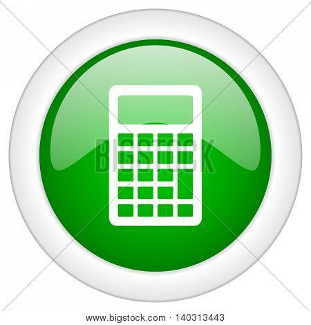 Green glossy web calculator vector icon isolated on white bacground