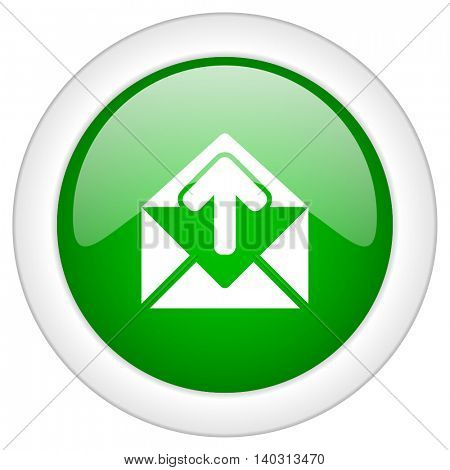 Green glossy web mail vector icon isolated on white bacground