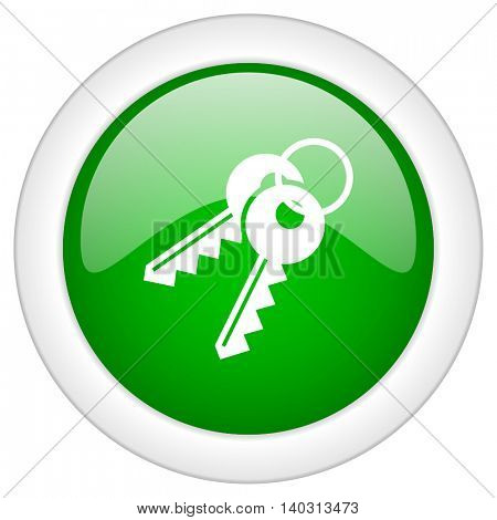 Green glossy web keys vector icon isolated on white bacground