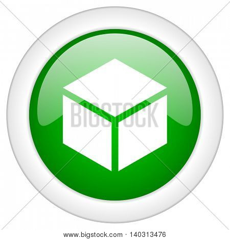 Green glossy web box vector icon isolated on white bacground