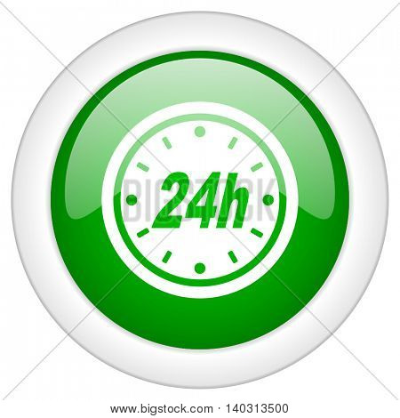 Green glossy web time vector icon isolated on white bacground