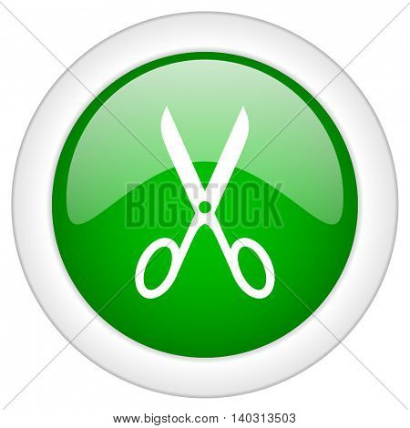 Green glossy web scissors vector icon isolated on white bacground