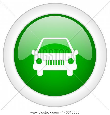 Green glossy web car vector icon isolated on white bacground