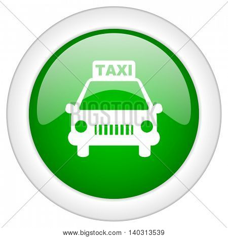 Green glossy web taxi vector icon isolated on white bacground