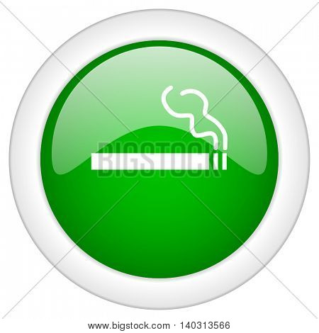 Green glossy web cigarette vector icon isolated on white bacground