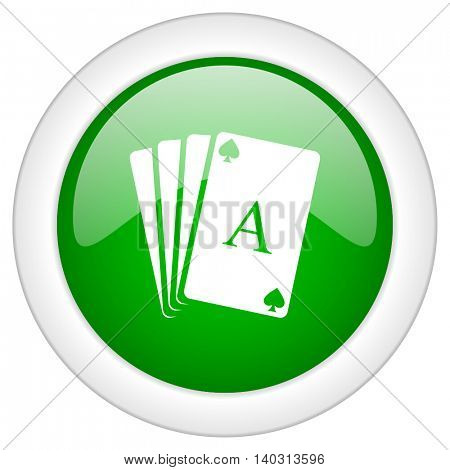 Green glossy web cards vector icon isolated on white bacground