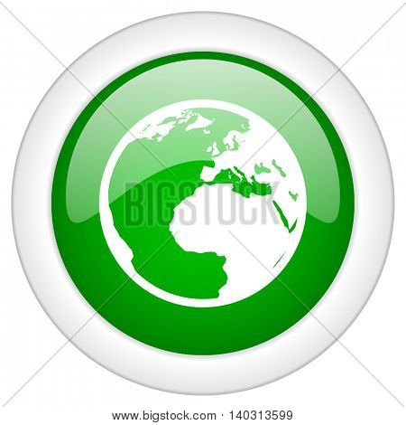 Green glossy web earth vector icon isolated on white bacground