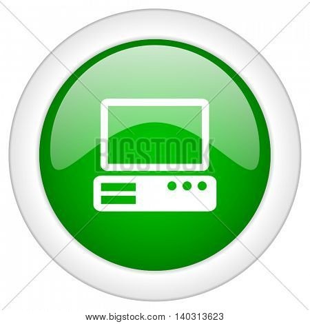 Green glossy web computer vector icon isolated on white bacground