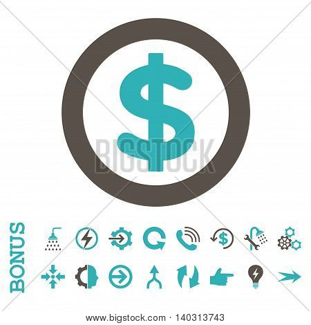 Finance glyph bicolor icon. Image style is a flat pictogram symbol, grey and cyan colors, white background.