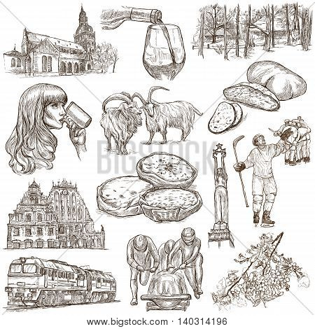 Latvia. Republic of Latvia. Pictures of life and travel collection of an hand drawn illustrations. Pack of full sized hand drawings. Set of freehand sketches. Line art technique. White background.