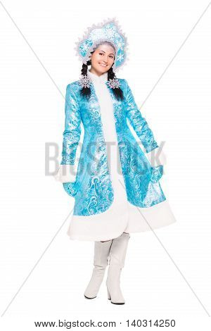 Young Brunette Posing In Winter Costume