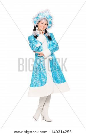 Cheerful Brunette Posing In Winter Costume