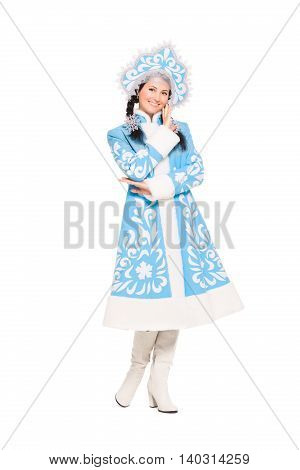Nice Brunette In Snow Maiden Costume