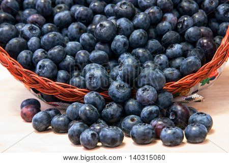 A lot of fresh blueberries in basket