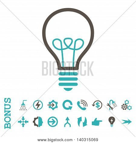 Lamp Bulb glyph bicolor icon. Image style is a flat iconic symbol, grey and cyan colors, white background.