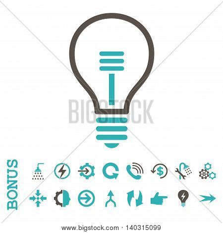 Lamp Bulb glyph bicolor icon. Image style is a flat pictogram symbol, grey and cyan colors, white background.