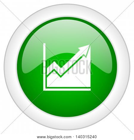 Green glossy round web graphic vector icon