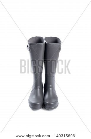 Men's Slate Grey Rubber Boots Isolated on White