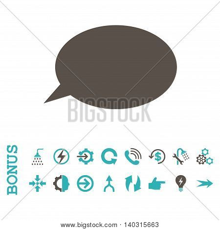 Message Cloud glyph bicolor icon. Image style is a flat iconic symbol, grey and cyan colors, white background.