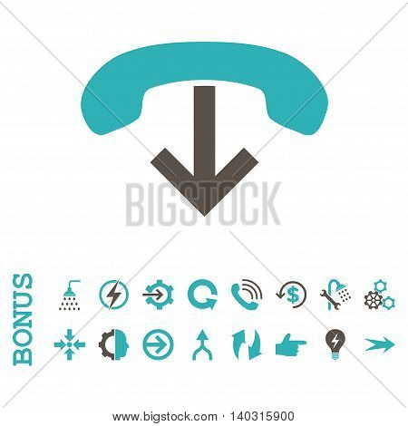 Phone Hang Up glyph bicolor icon. Image style is a flat iconic symbol, grey and cyan colors, white background.