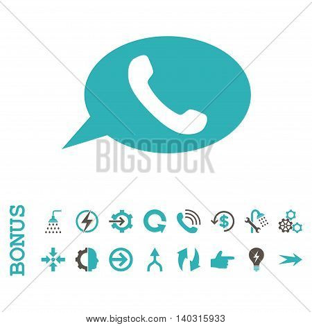 Phone Message glyph bicolor icon. Image style is a flat pictogram symbol, grey and cyan colors, white background.