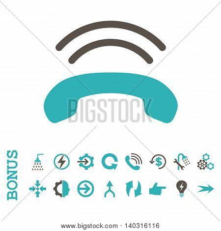 Phone Ring glyph bicolor icon. Image style is a flat pictogram symbol, grey and cyan colors, white background.