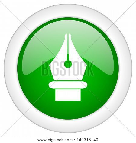 Green glossy round web pen vector icon