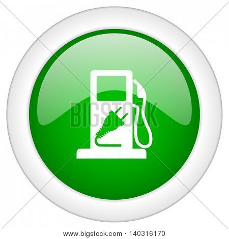 Green glossy round web hybrid fuel vector icon