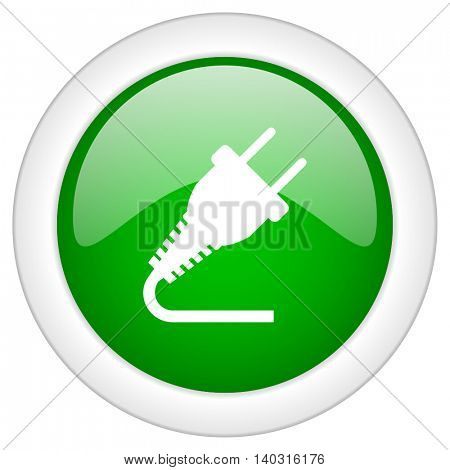 Green glossy round web electricity vector icon