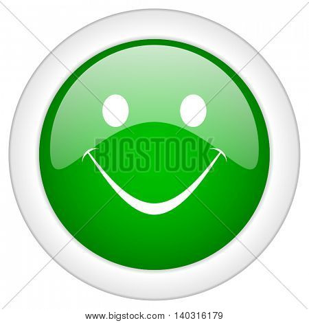 Green glossy round web smile vector icon