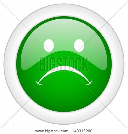Green glossy round web cry vector icon