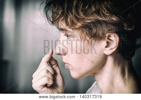 Woman Creaming Her Nose