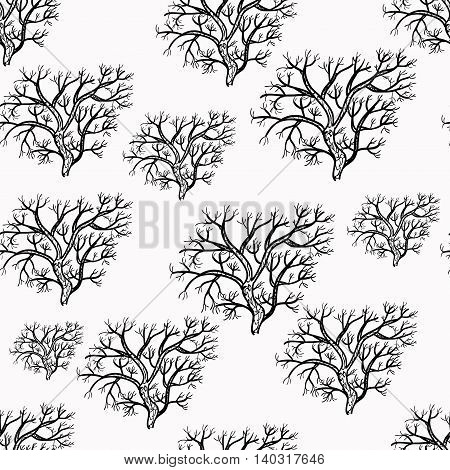 Seamless Pattern Silhouette Of Trees. Vector Illustration