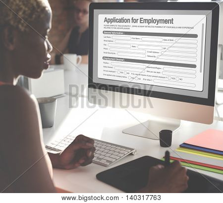Application For Employment Form Job Concept