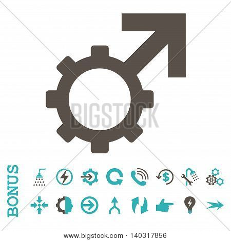 Technological Potence glyph bicolor icon. Image style is a flat pictogram symbol, grey and cyan colors, white background.