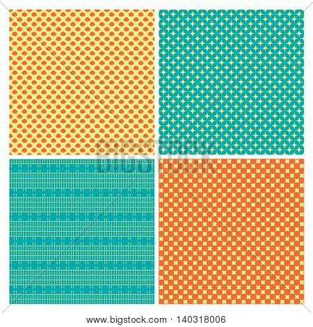 Set of 4 abstract geometrical ornamental seamless patterns. Vector Illustration