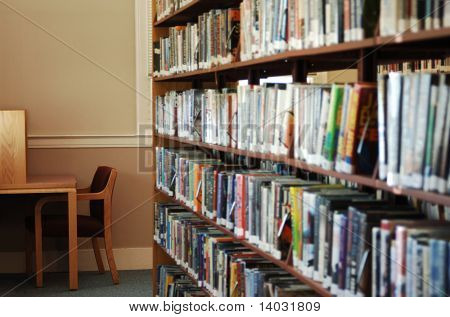 stack of library books and cubicle for reading