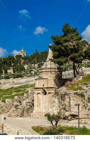 Tomb of Absalom, also called Absalom's Pillar - is an ancient monumental tomb with a conical roof, carved into the rock