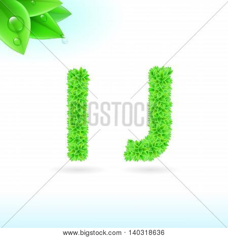 Sans serif font with green leaf decoration on white background. I and J letters