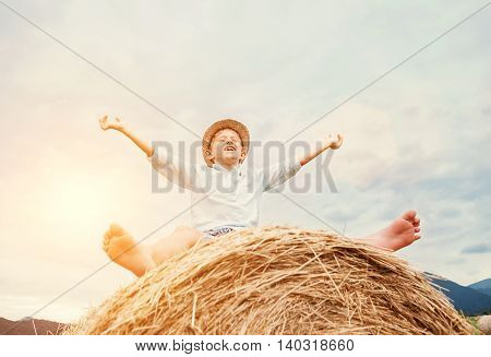 Happy smiling boy sits astride on the haystack
