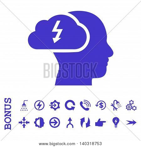 Brainstorming glyph icon. Image style is a flat pictogram symbol, violet color, white background.