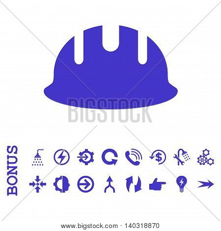 Builder Hardhat glyph icon. Image style is a flat pictogram symbol, violet color, white background.