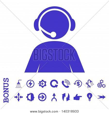 Call Center Operator glyph icon. Image style is a flat pictogram symbol, violet color, white background.