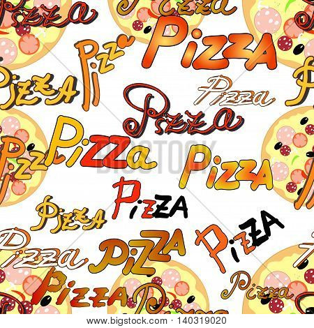 Seamless Pattern With A Pizzas And The Name Of The Pizza Vector Illustration