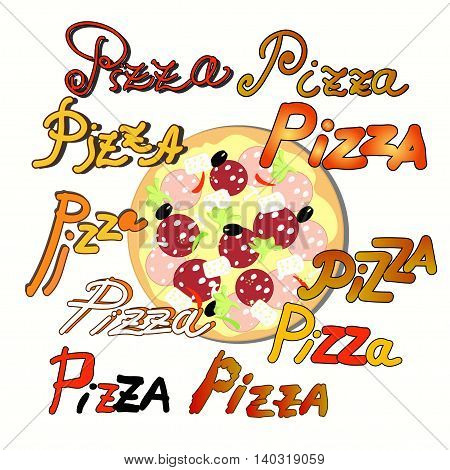 Set Pizza And The Name Of The Pizza. Vector Illustration