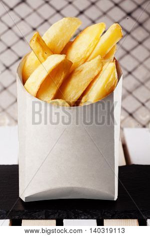 fries slices in a box fast food country-style potatoes