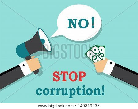 One hand holds the money, and the other hand to shout replies that the money does not take bribes