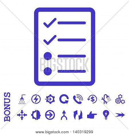 Checklist Page glyph icon. Image style is a flat pictogram symbol, violet color, white background.