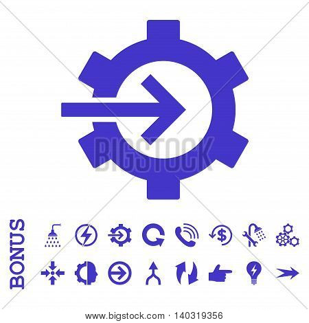 Cog Integration glyph icon. Image style is a flat iconic symbol, violet color, white background.