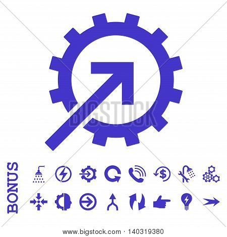 Cog Integration glyph icon. Image style is a flat pictogram symbol, violet color, white background.